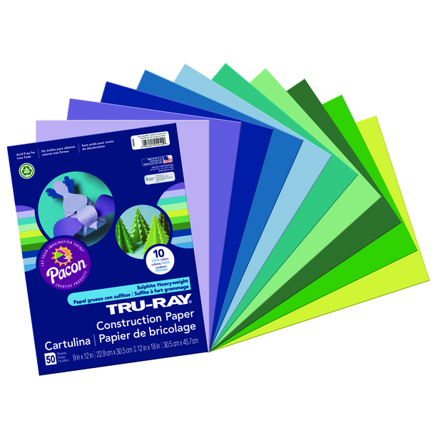 Tru-Ray Construction Paper, 9 x 12, Cool Assorted Colors