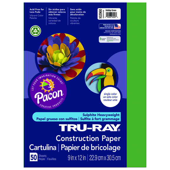 Tru-Ray Construction Paper, 9 x 12, Holiday Green