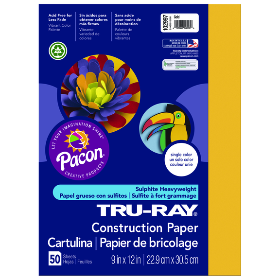 Tru-Ray Construction Paper, 9 x 12, Gold
