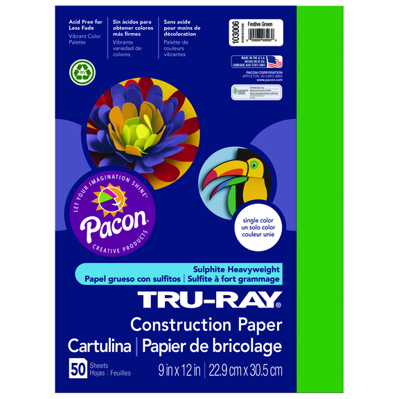 Tru-Ray Construction Paper, 9 x 12, Forest Green
