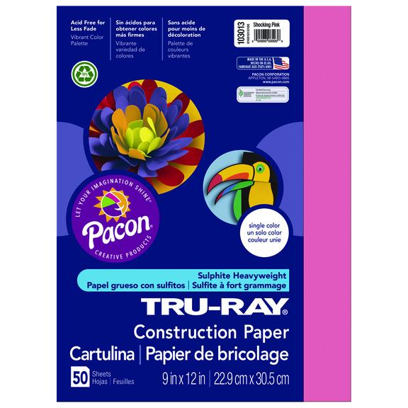 Tru-Ray Construction Paper, 9 x 12, Shocking Pink