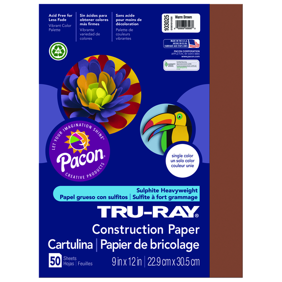 Tru-Ray Construction Paper, 9 x 12, Warm Brown