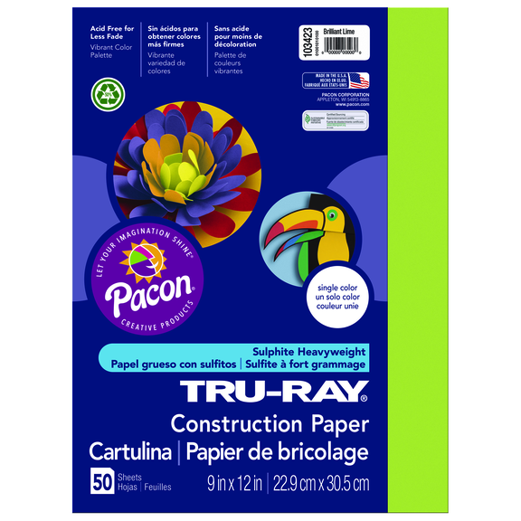 Tru-Ray Construction Paper, 9 x 12, Lime