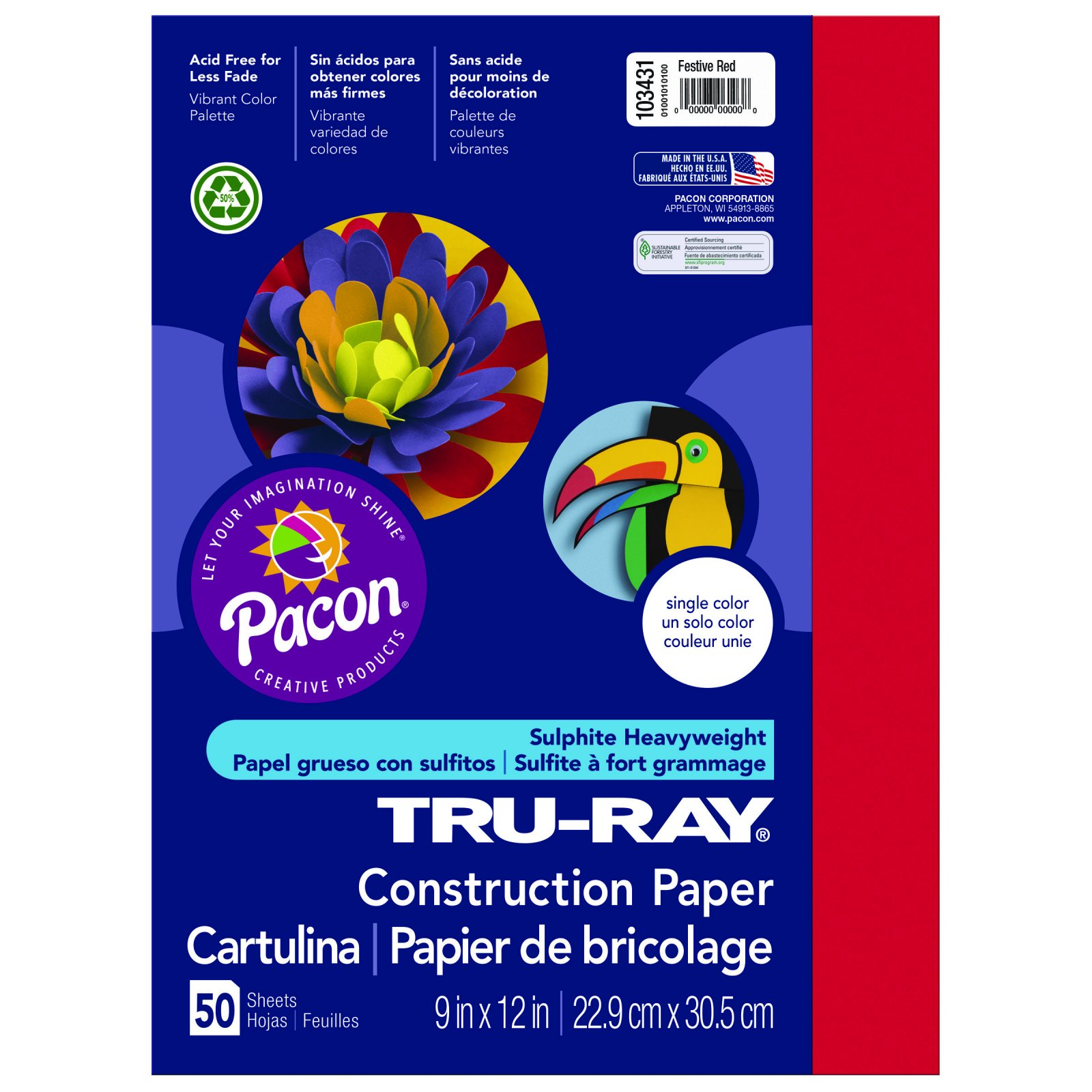 Tru-Ray Construction Paper, 9 x 12, Festive Red