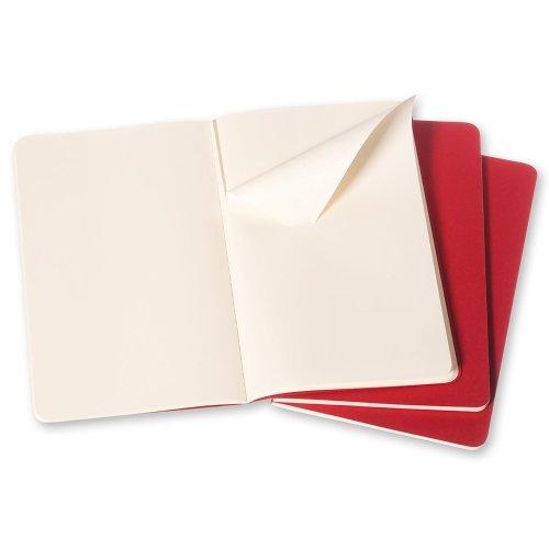 MOLESKINE PLAIN CAHIER CRANBERRY RED LARGE 5 X 8.25 3PK