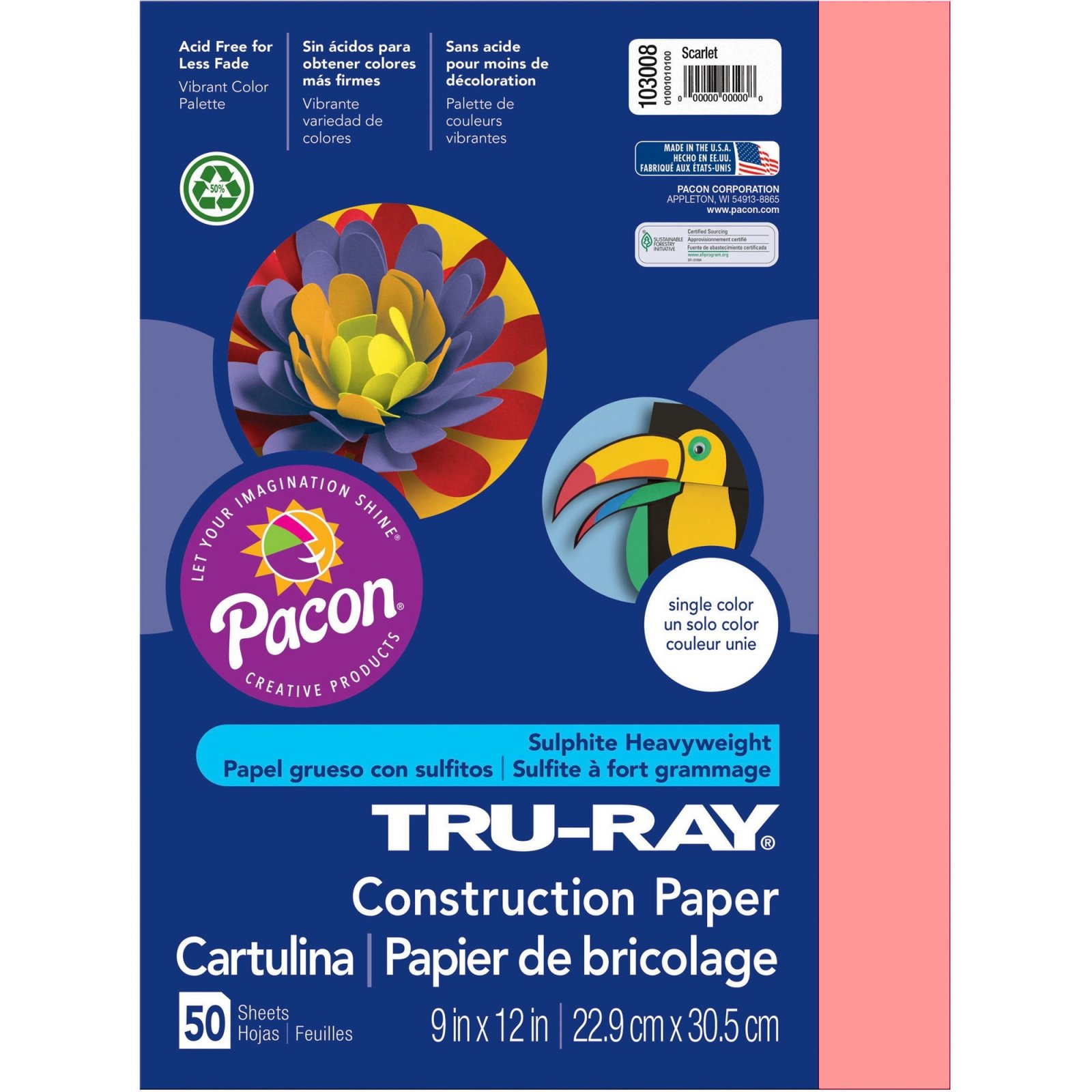 Tru-Ray Construction Paper, 9 x 12, Pink