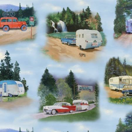 Blue Vintage Trailers Spring Scenic - 3501Blue
