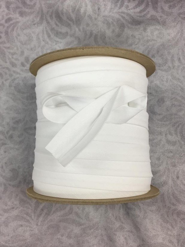 High Quality 1/2 Double Fold Bias Binding 10yd Cut - White