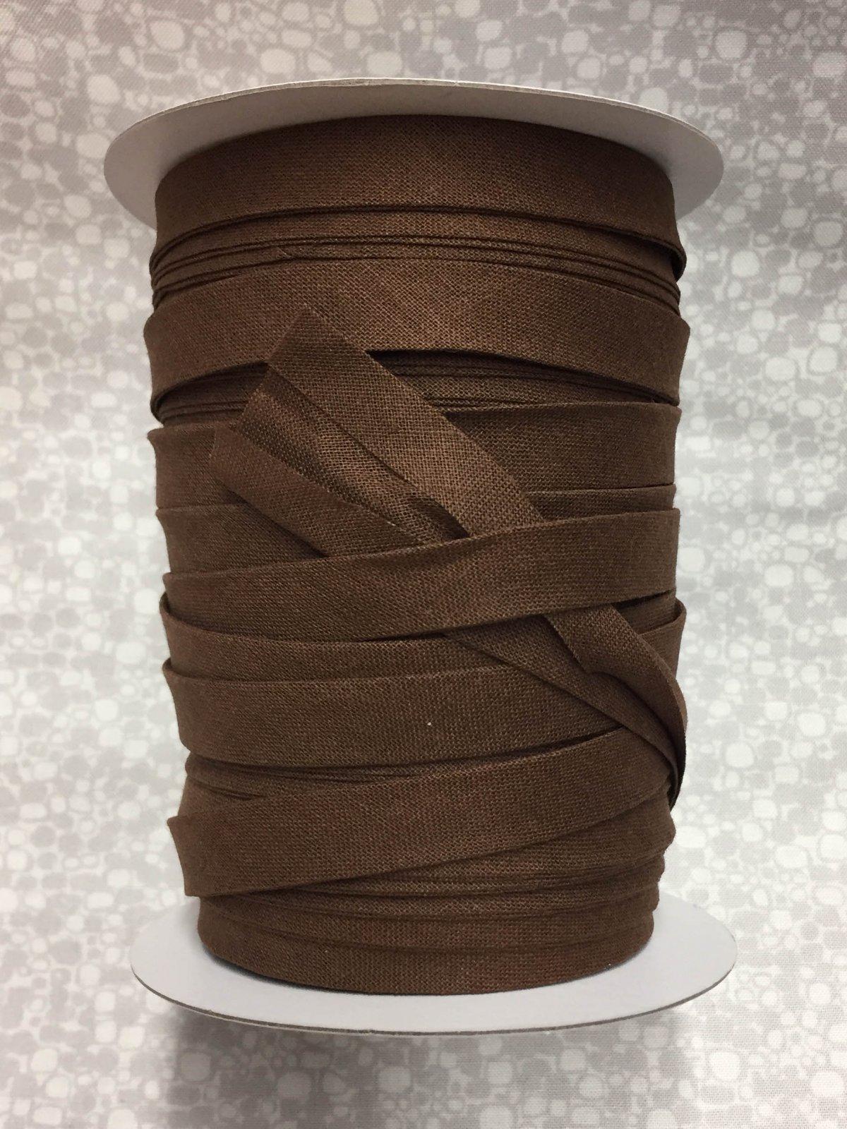 1/2 Finish Double Fold Economy Bias Binding, 10yd - Brown