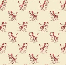Red Dogs on Cream Background