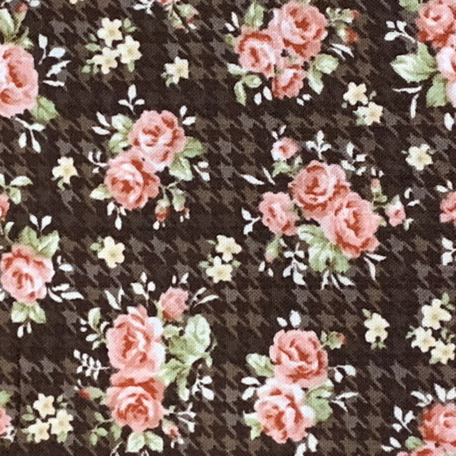 Pink Roses on Brown Houndstooth