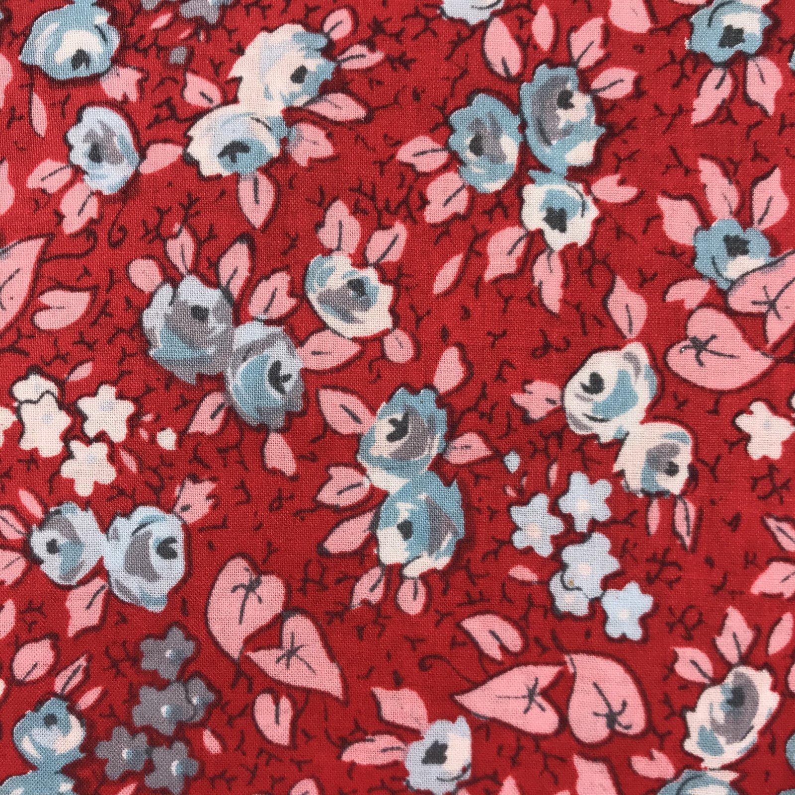 Blue Roses on Red by Sue Daley Designs