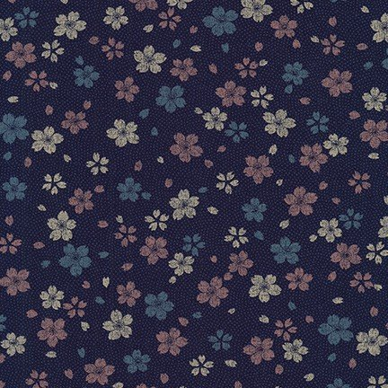 Kasuri - Indigo with Pink, Blue and White Flowers