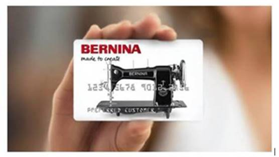 Finance your BERNINA purchase today!     The BERNINA Credit Card, Empowering Creativity  ·         Many special financing options*  ·         Instant credit decision  ·         Convenient monthly payments  ·         No early payoff penalty  ·         Use on any BERNINA products  *Subject to credit approval. Minimum monthly payments required. See store for details.