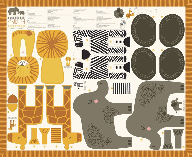 Safari Life Stuffed Animal Panel by Stacy Iest Hsu for Moda Fabrics