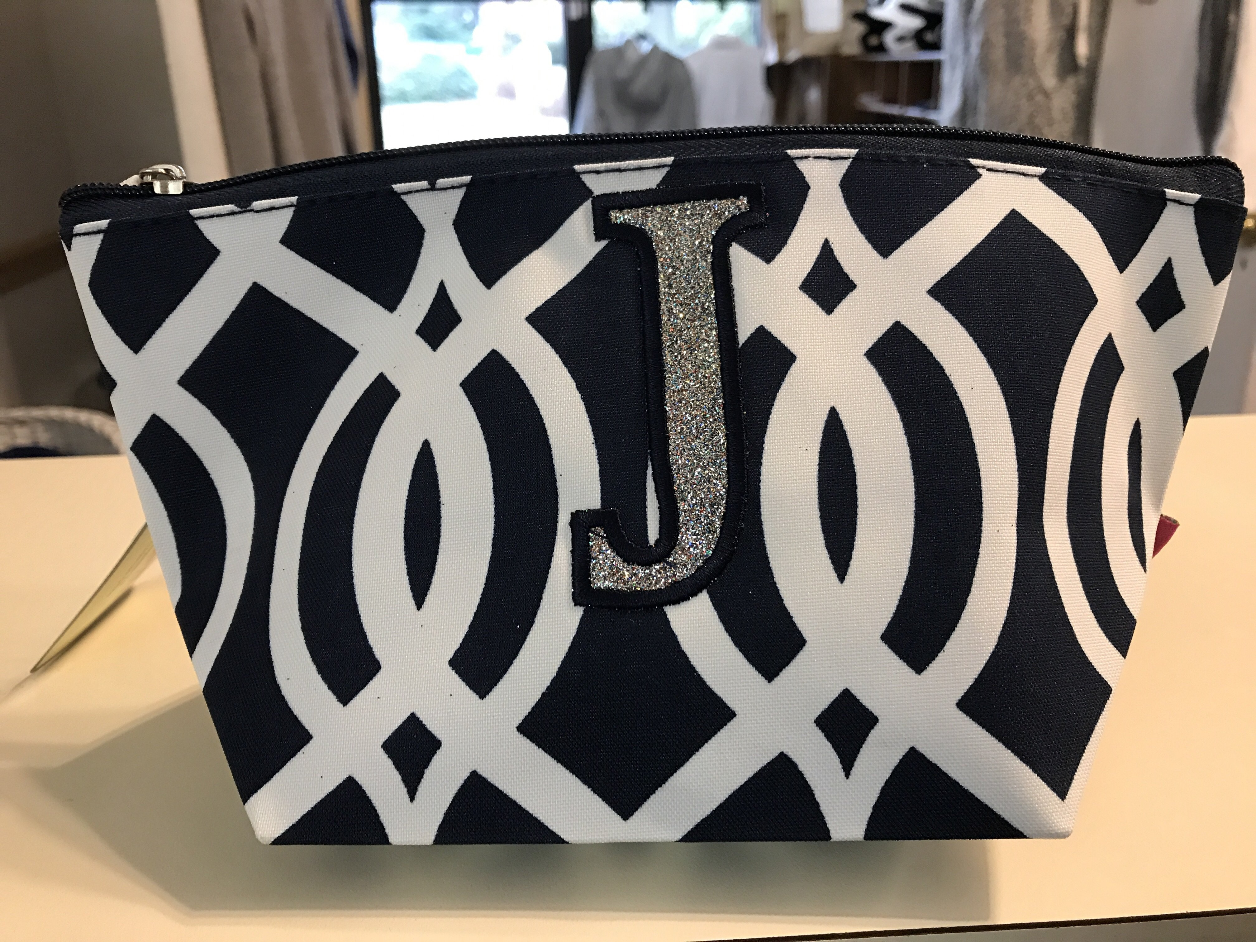 Navy Cosmetic Bag w/ Initial