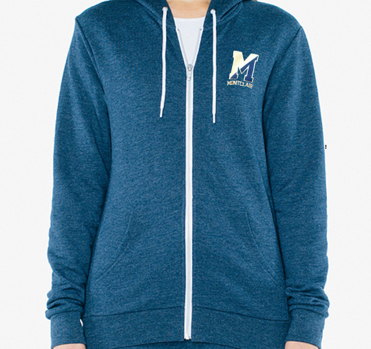 American Apparel Unisex Tri-Blend Zippered Hoodie - Embroidered Two Tone M with Montclair underneath