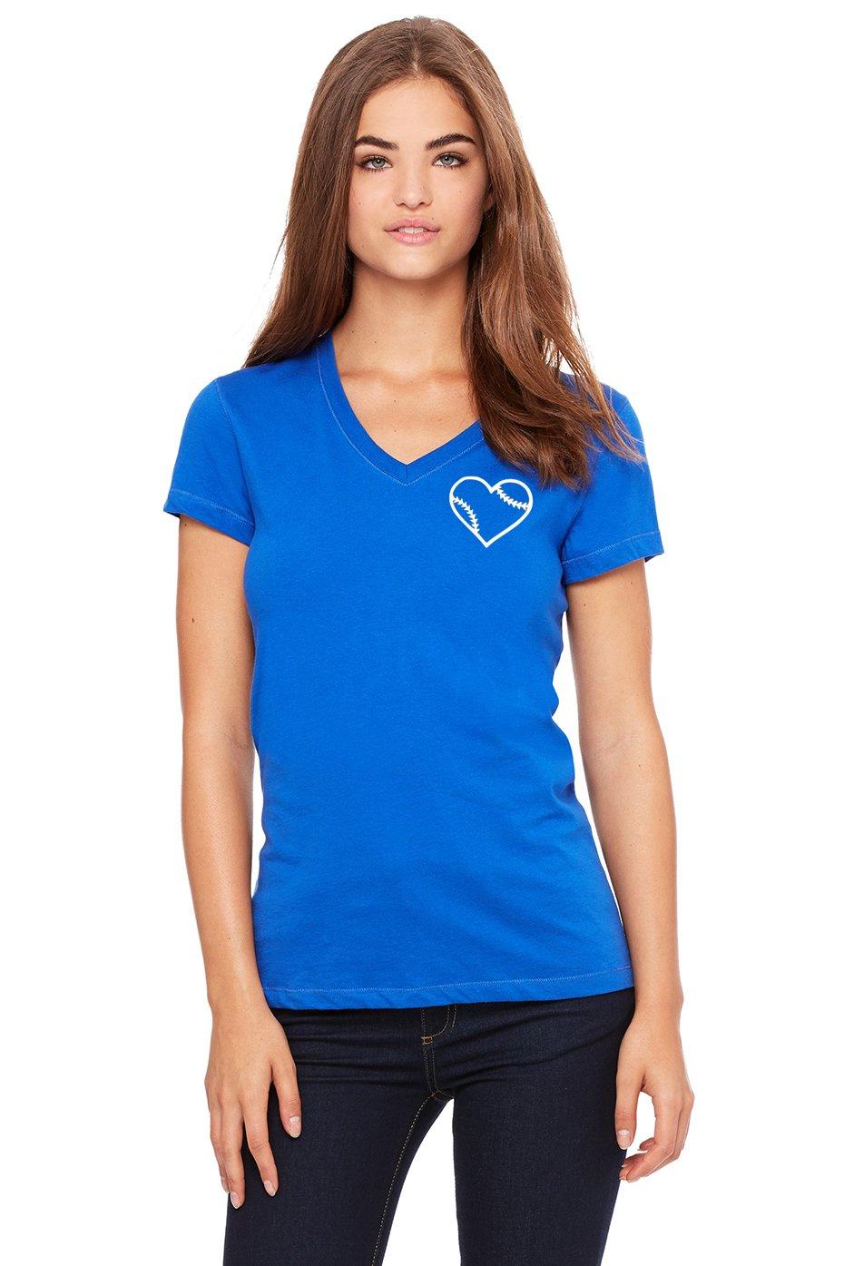 Bella + Canvas Softball Heart V-Neck