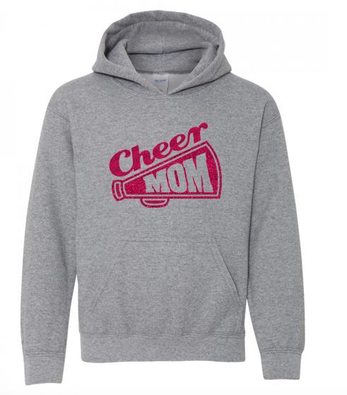 Gildan Glitter Flake Cheer Mom Hoodie