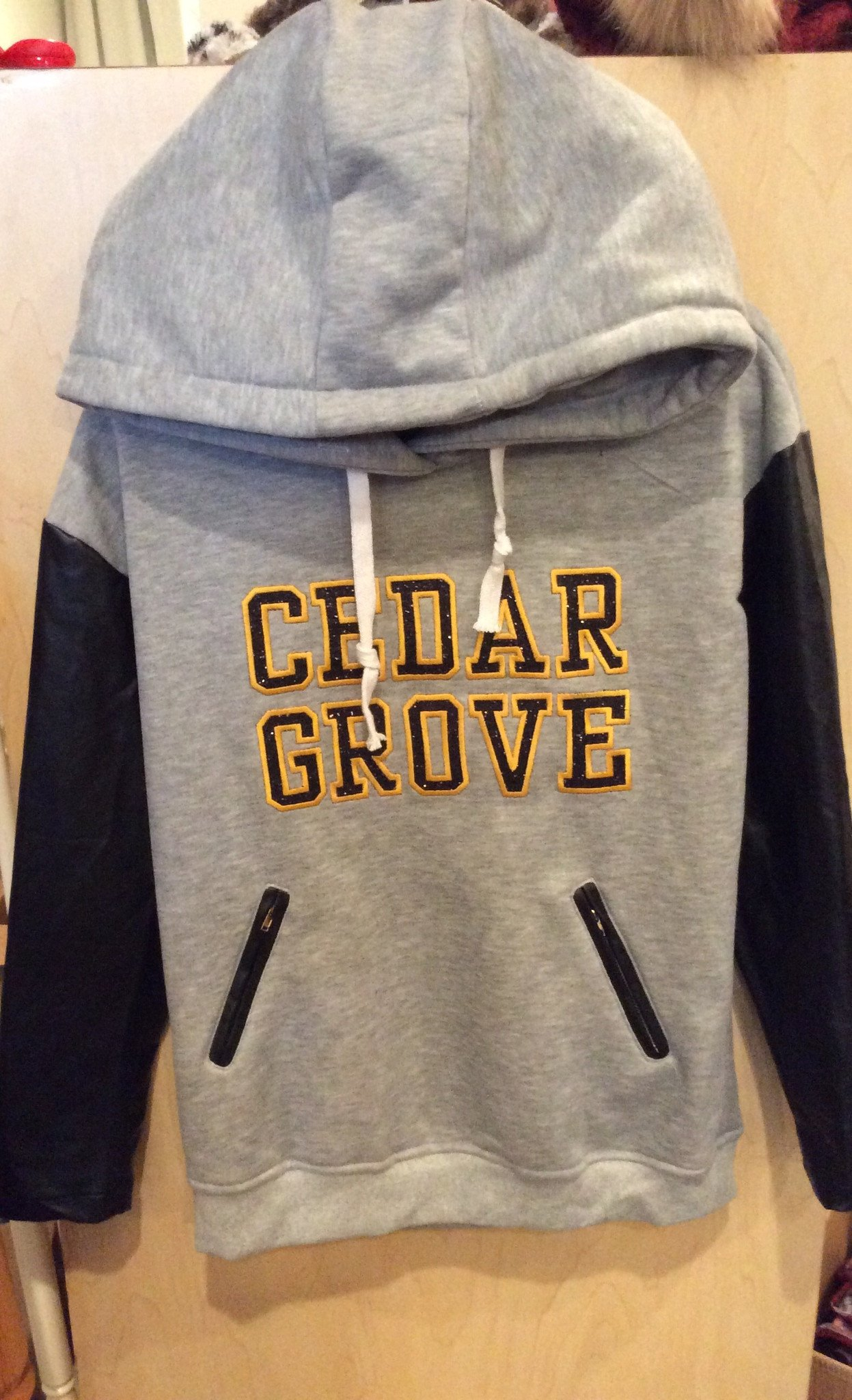 Cedar Grove Glitter Flake Hoodie with Faux Leather Sleeves