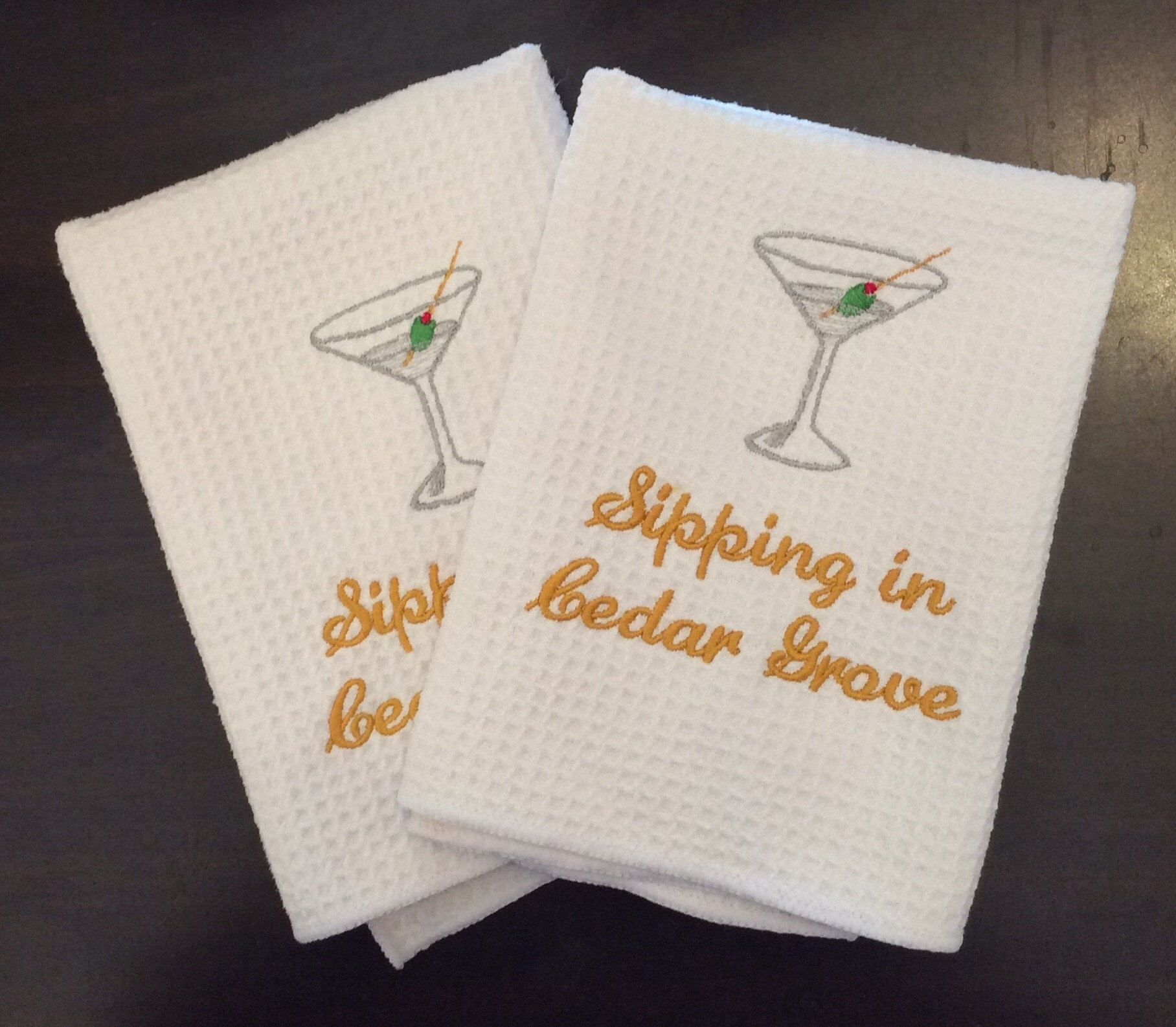 Sipping in Cedar Grove Martini Set of 2 Dish Towels