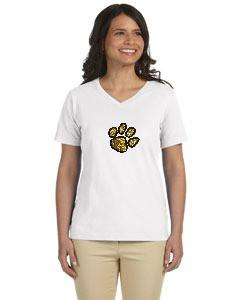 LAT Ladies' Jersey V-Neck W/ Glitter Paw on Chest