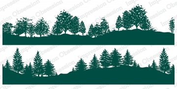 Slim Scenes Stamp - Tree-Lined Hillside Duo