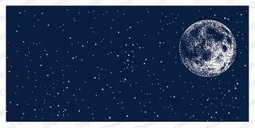Slim Scenes Stamp - Night Sky with Moon