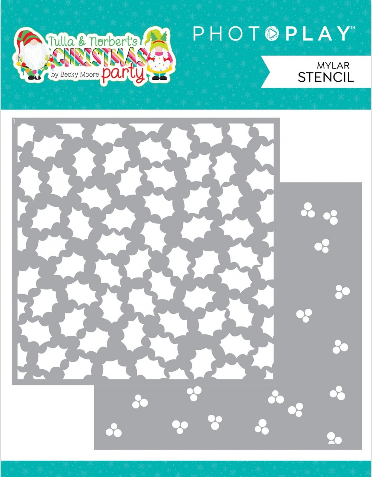 PhotoPlay Tulla & Norbet's Christmas Party Stencils 6 2/Pkg-Holly Berry