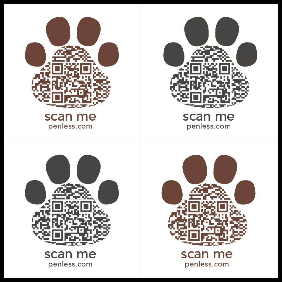 Dog Paw QR Stickers