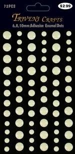 Enamel Dots Stickers - 6-10mm - White