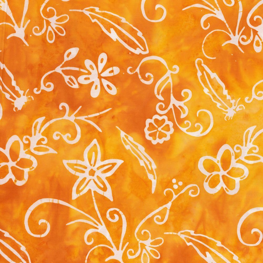 Cantik Batiks - FLOWERS & FEATHERS BY SHANIA SUNGA ORANGE WHITE