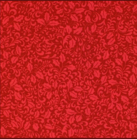 Christmas Cotton with Foliage Red