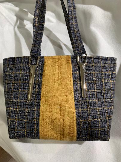 Navy and Gold Fabric Handbag