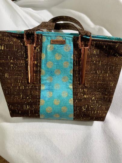 Chocolate and Turquoise Handbag