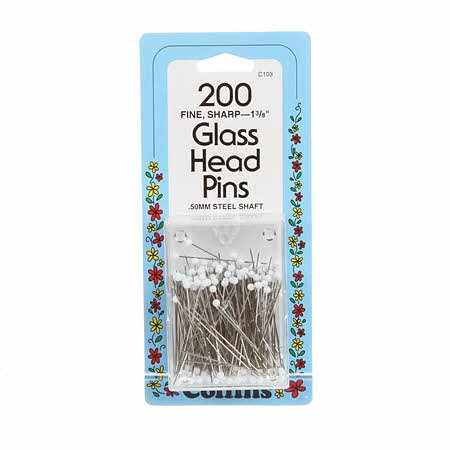 GLASS HEAD PINS  1-3/8  200ct