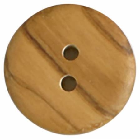 28mm Brown Wood 2 Hole Button 1 per Card