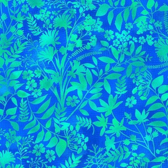 Blue/Green Wildflower & Fern Silhouettes