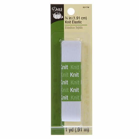 White Knit Elastic 3/4 x 1yd