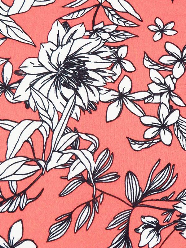 Coral Floral Line Art Poly/Lycra