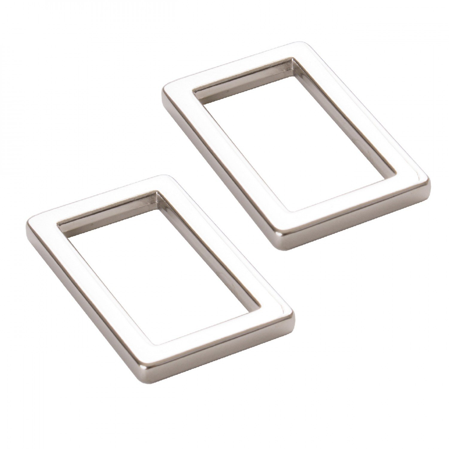 Rectangle Ring Flat 1in Nickel Set of Two