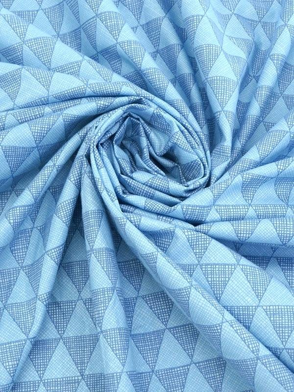 Blue 100% Cotton Geo Triangles
