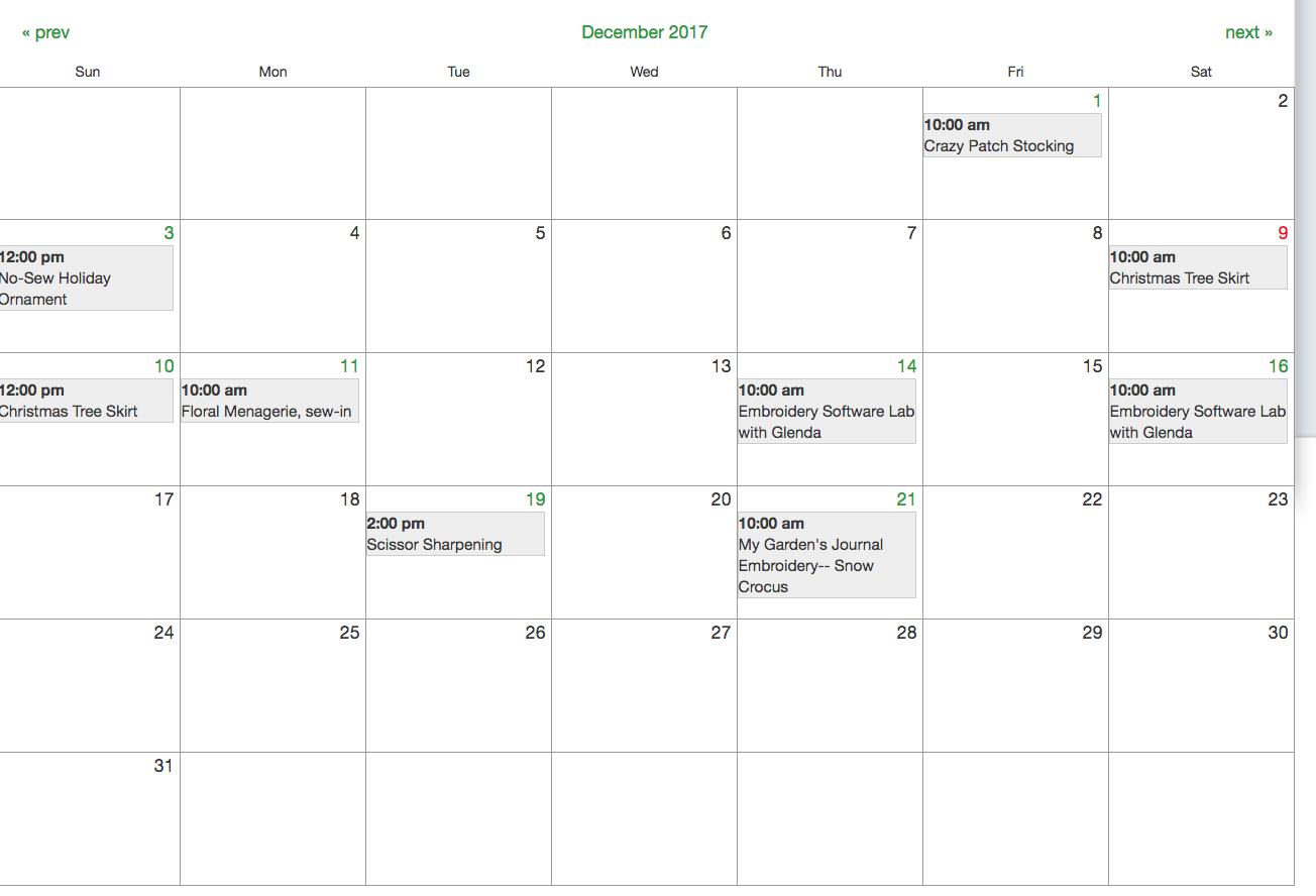 December Class Calendar Sew Central