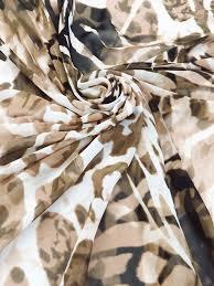 White/ Espresso/Tawny Brown 100% Polyester Animal Print Chiffon 5