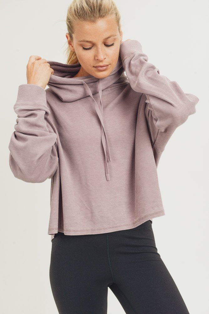Mineral-Washed Cowl-Neck Pullover