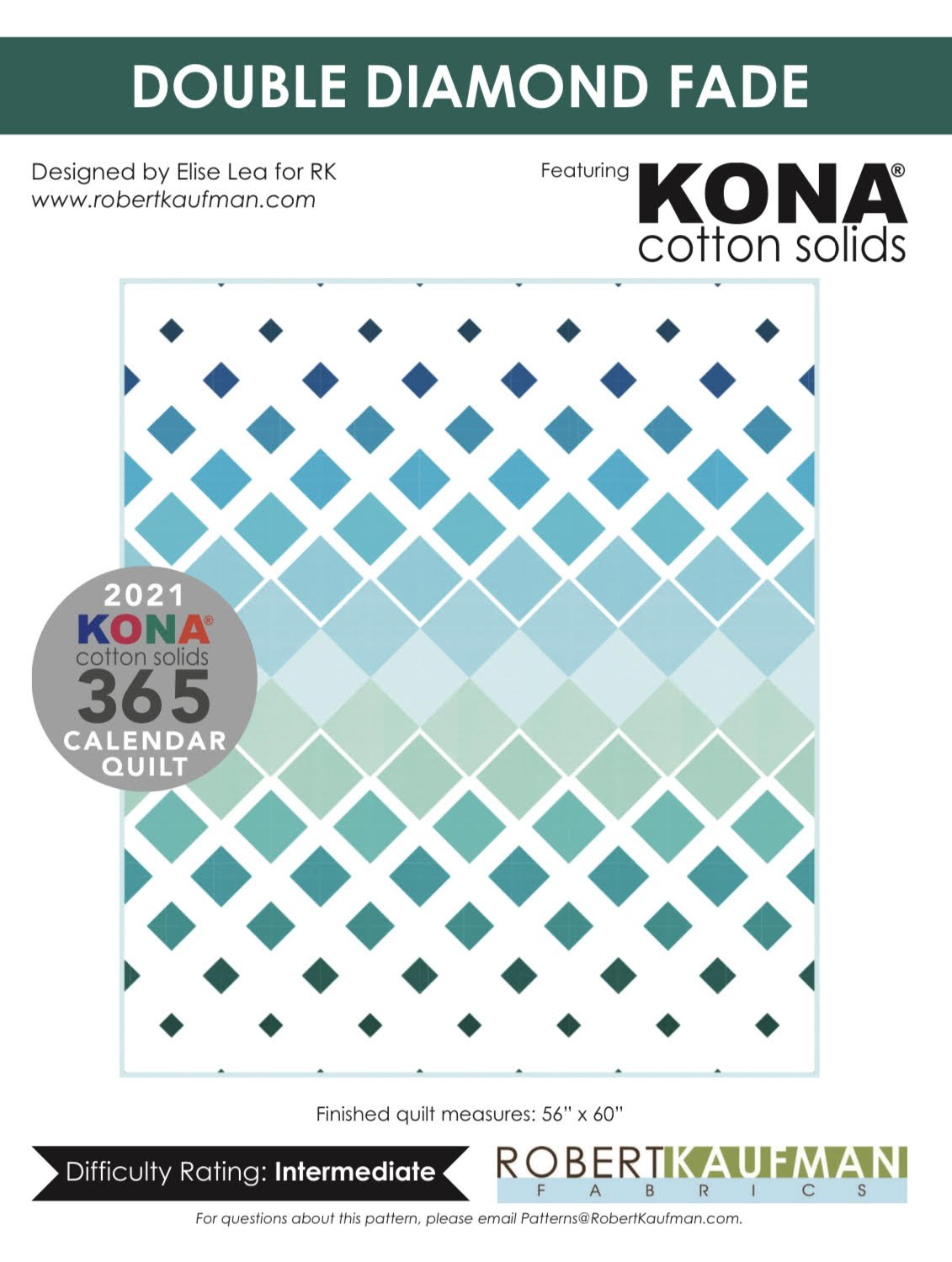Kona Solids | Double Diamond Fade Quilt Kit