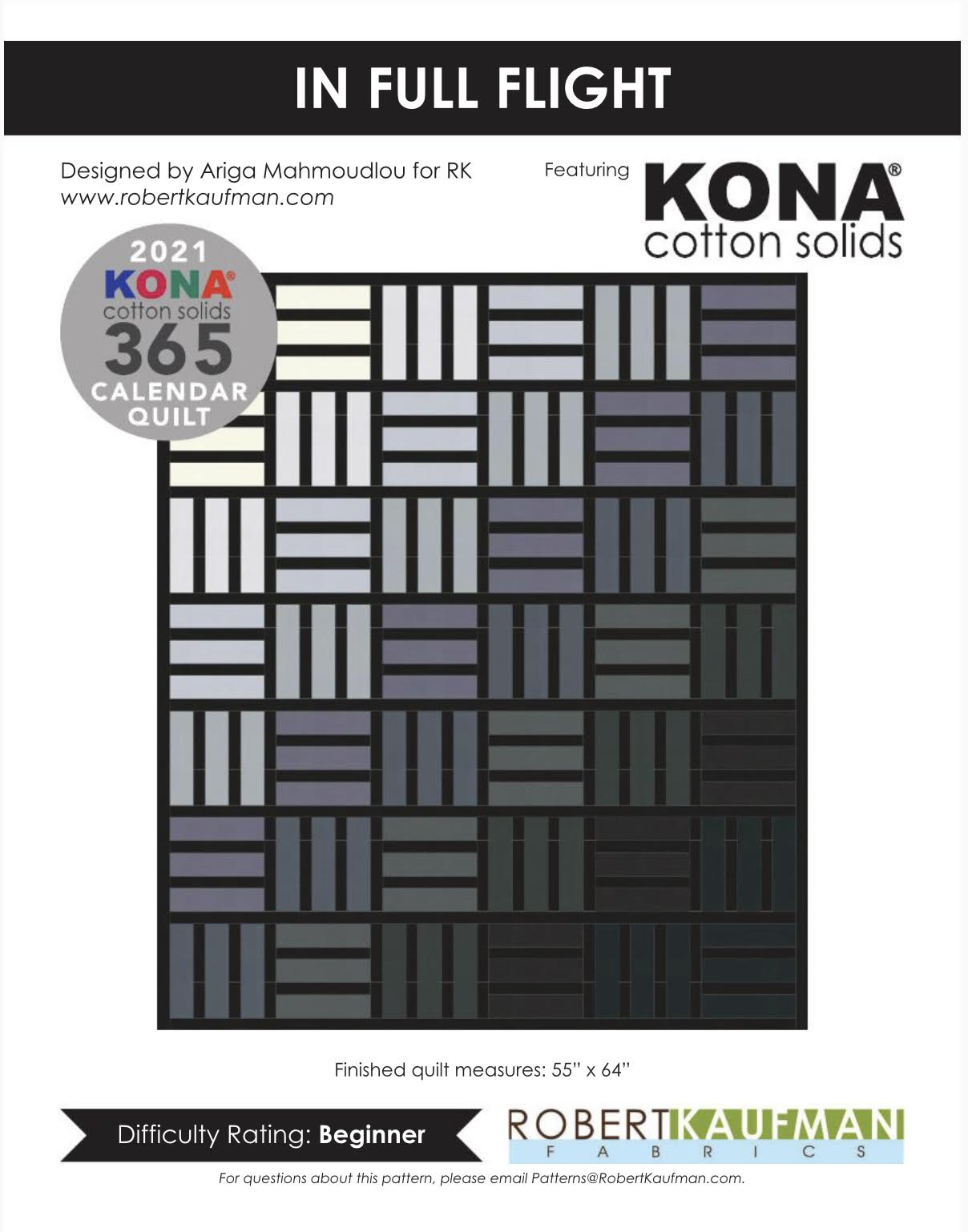 Kona Solids |  2021 Calendar In Full Flight Quilt Kit  |