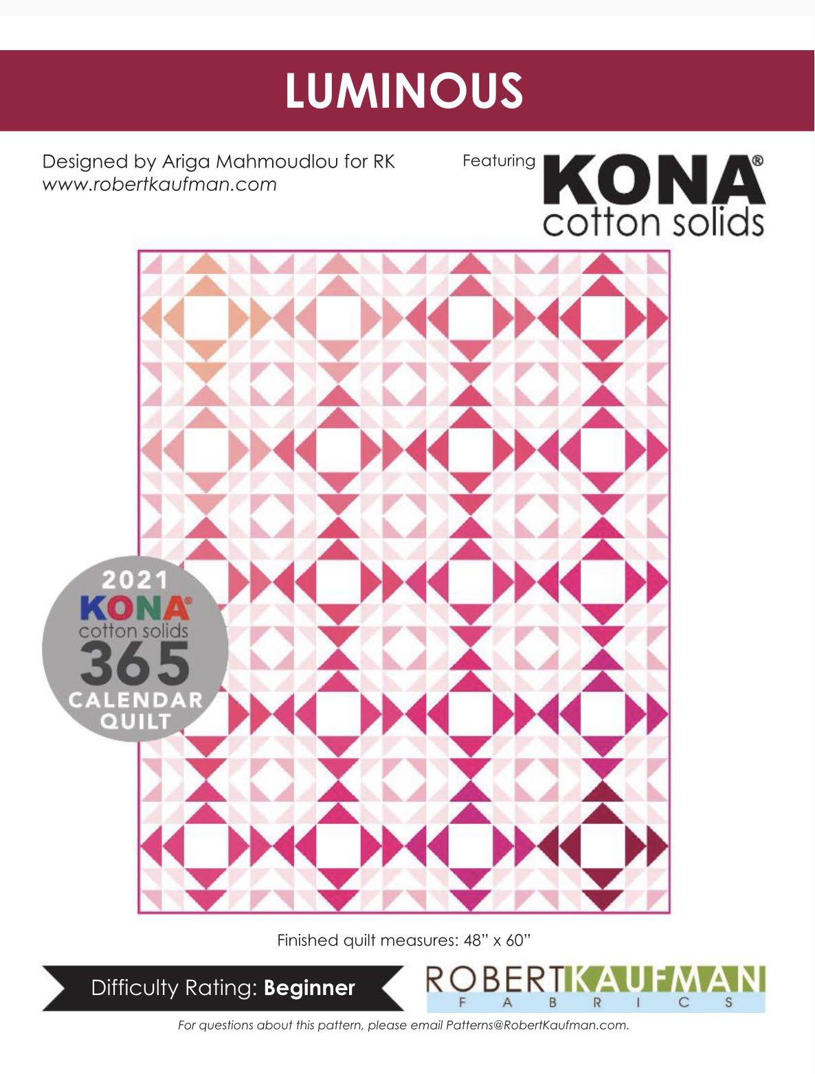 Kona Solids |  Luiminous 2021 Calendar Quilt Kit |