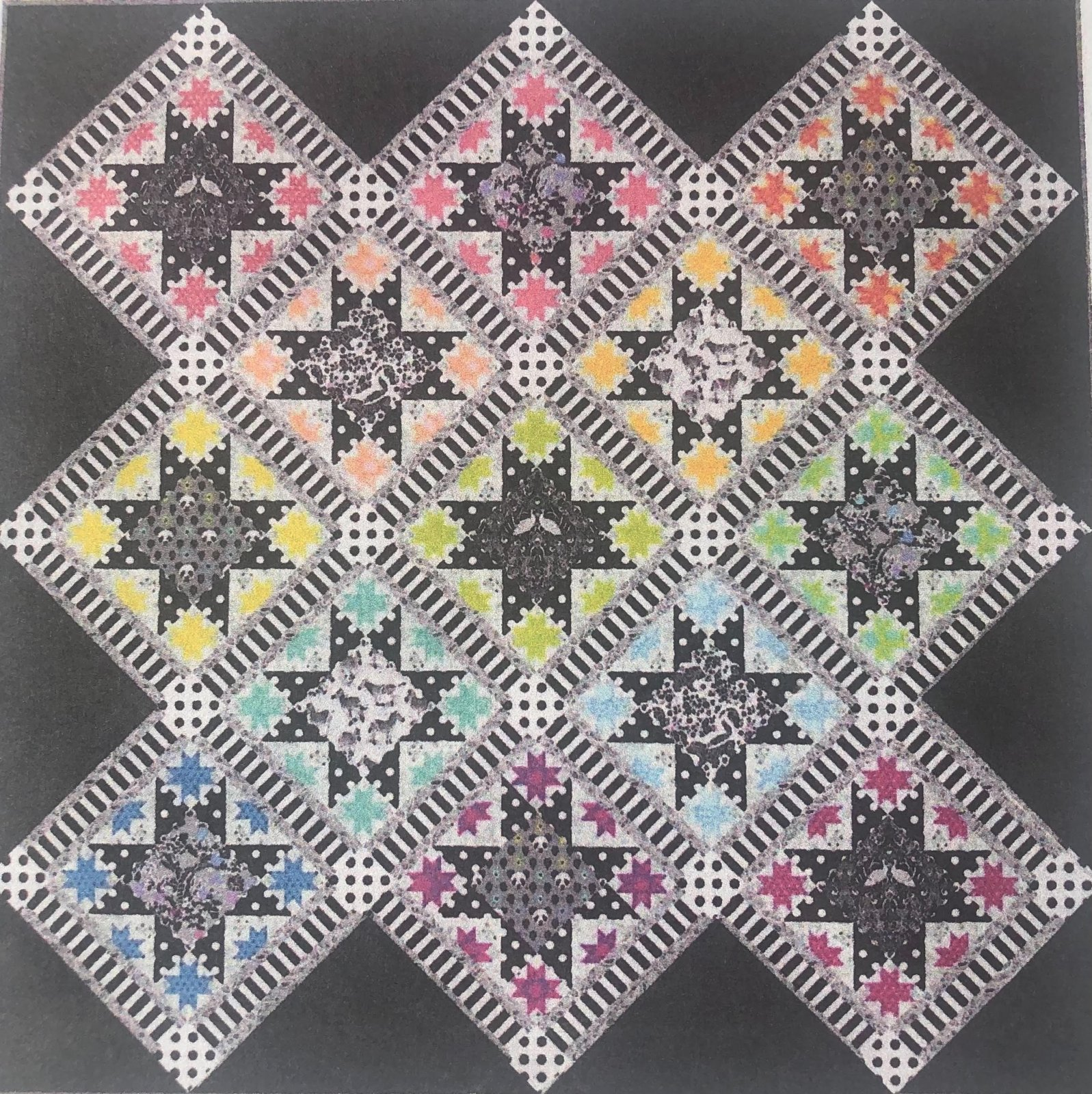 Tula Pink's Opening Night Quilt Kit featuring Linework and True Colors (All Black Borders)