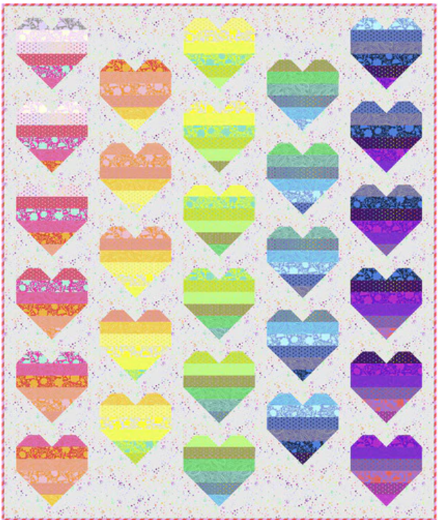 Tula Pink's Floating Hearts Quilt Kit featuring True Colors Fabric line
